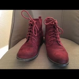 Burgundy Suede Laceup Ankle Boots